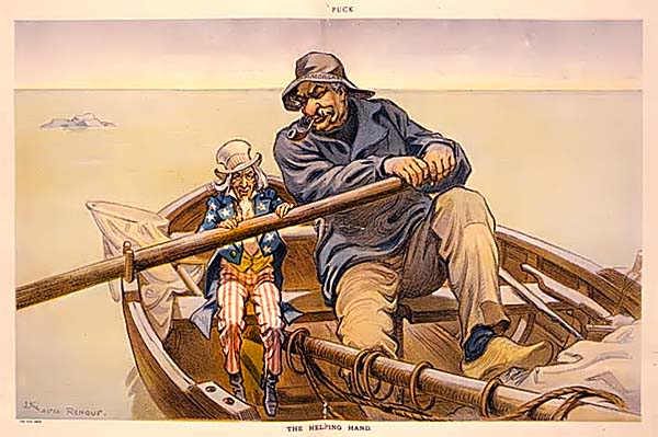 Helping Hand - Дж.П.Морган и дядя Сэм. Карикатура начала 20-го века