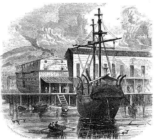 """Плавучая тюрьма """"Ефимия"""" на фоне салуна """"Аполло"""", открытого на борту одноименного корабля"""