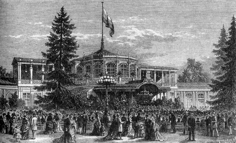 Царскосельский воксал. Гравюра Л. Серякова по рисунку К. Броже, 1870