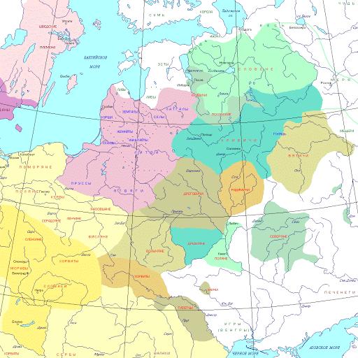 Карта расселения славянских племен по территории Европы. За левым берегом Волги славяне появились существенно позже.