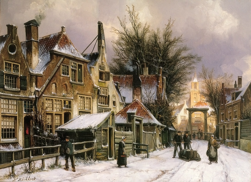 A townview with figures on a snow covered street