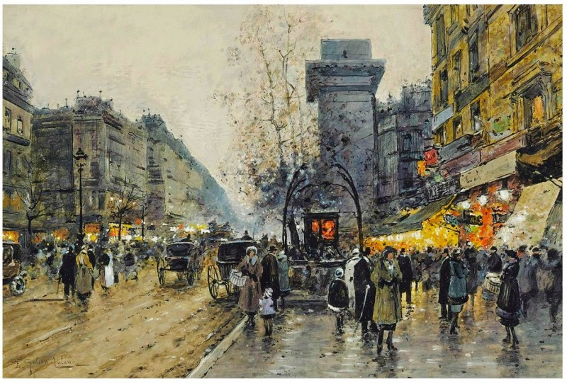 Eugene Galien-Laloue (French, 1854-1941). Parisian street scene. watercolour and bodycolour on paper. 31.7 x 46.5 cm.jpg