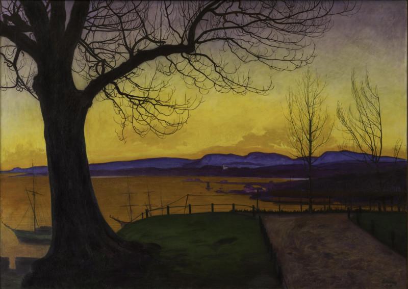 Spring Evening, Akershus Fortress (1913), Harald Sohlberg. Akershus Fortress, Oslo.jpg