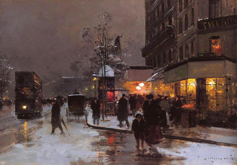 Edouard-Cortes_Les-grands-boulevards-sous-la-neige