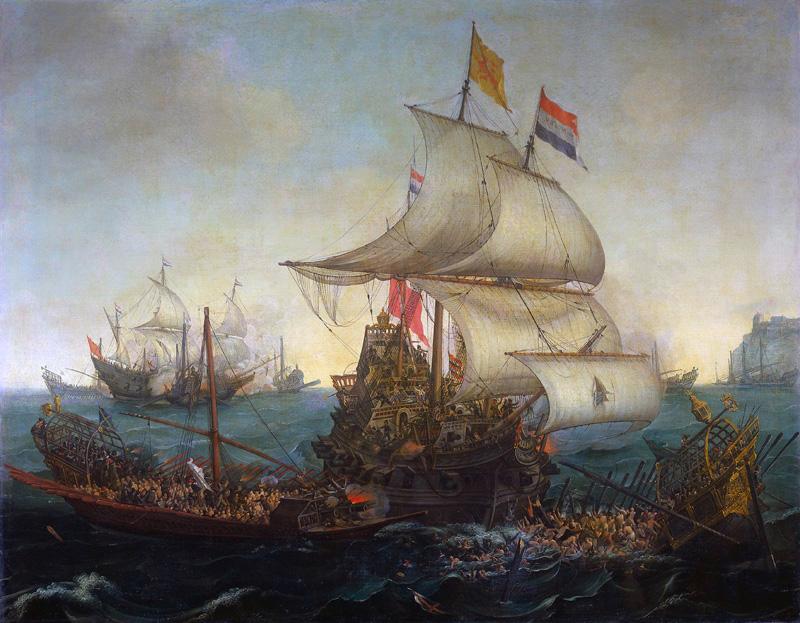 Vroom_Hendrick_Cornelisz_Dutch_Ships_Ramming_Spanish_Galleys_off_the_Flemish_Coast_in_October_1602