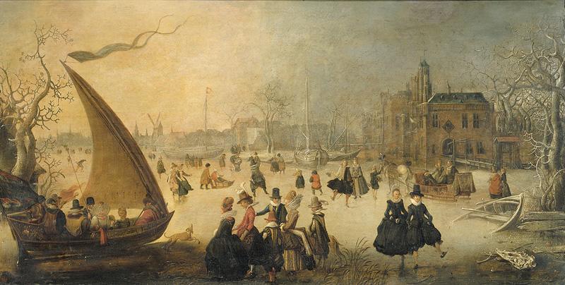 Зимний-пейзаж-с-конькобежцами-(1611,-Rijksmuseum,-Амстердам)-(копия-этой-картины-есть-у-Давида-Винкбонса)