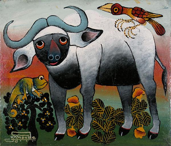 Cape-Buffalo-and-Chameleon---Omary-Amonde