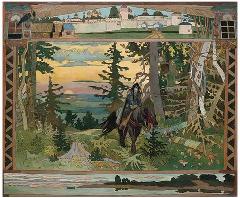 1Ivan-Iakovlevich-Bilibin-(1876-1942).The-Black-Horseman-from-the-Russian-fairytale-'Vassilissa-the-Beautiful'.-Oil-on-canvas-.157.5-x-189