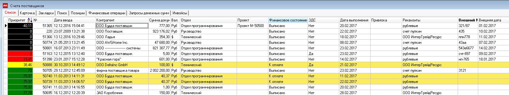 Приоритет счетов поставщика в AVA ERP