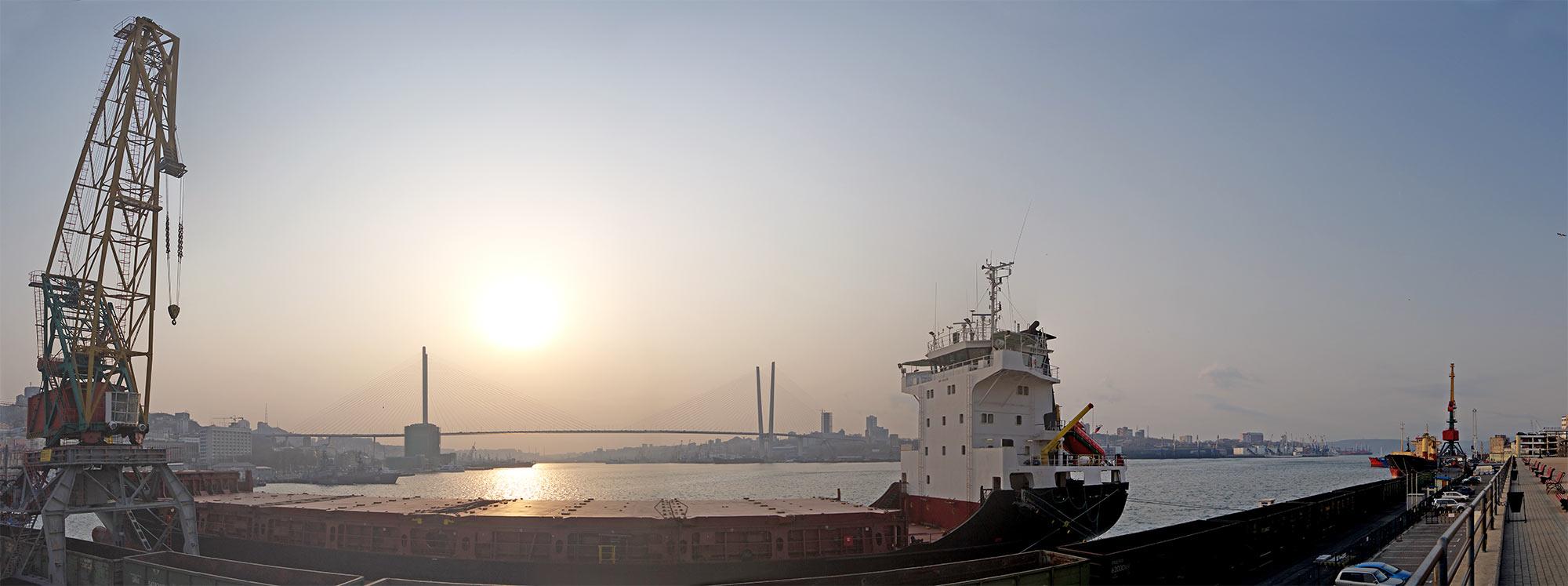 Владивосток, панорама, бухта, порт, Золотой Рог, утро