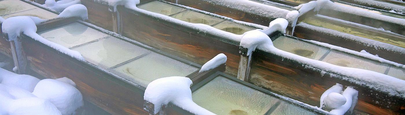 кусатсу, онсен, зима, горячий источник, kusatsu, onsen, снег, snow, winter, Юбатакэ, Yubatake, steam, пар