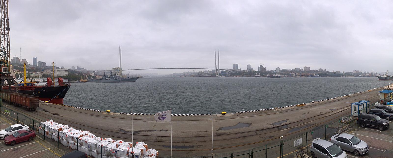 владивосток, мост, панорама, золотой рог
