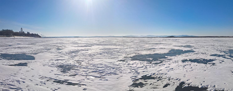 река, амур, зима, лед