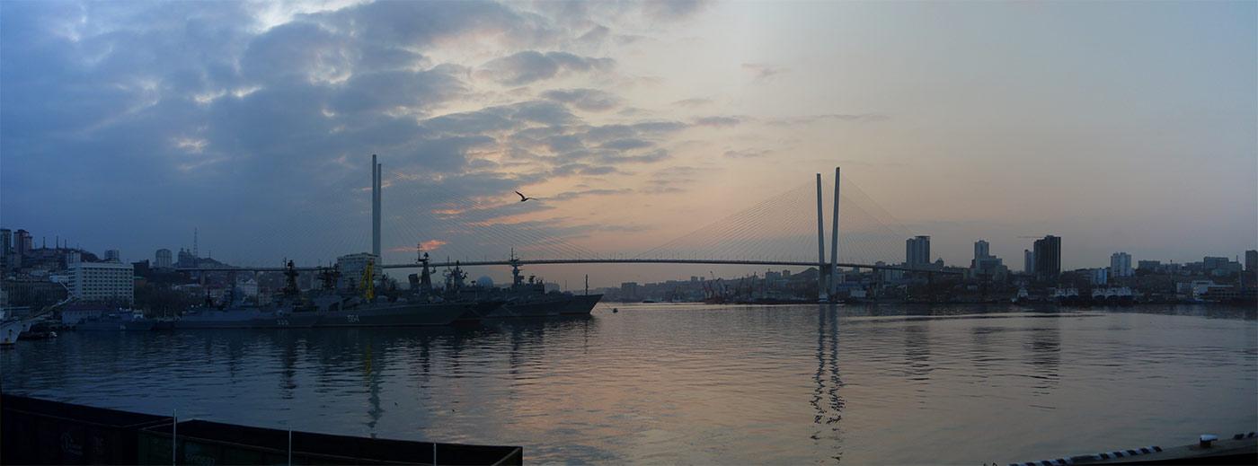 владивосток, золотой рог, бухта, утро