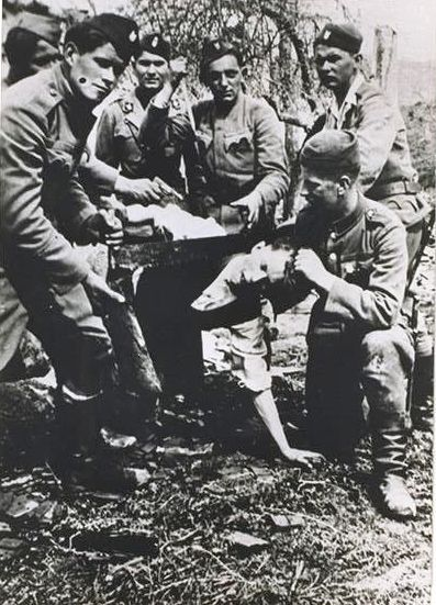 Jasenovac prisoner being beheaded
