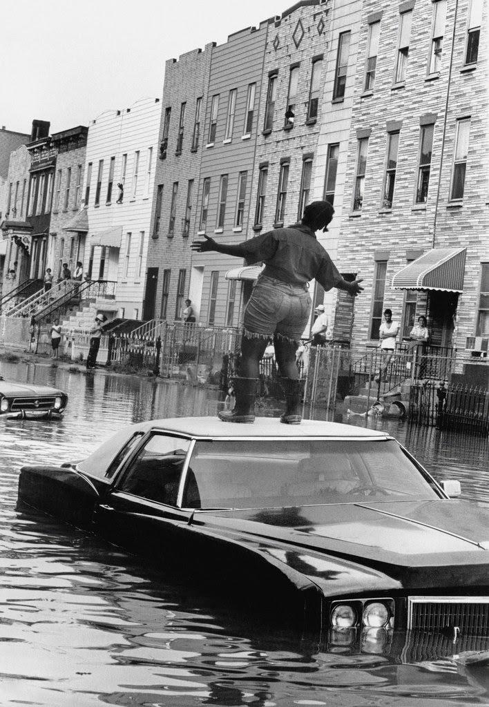 A water main break in Bushwick, Brooklyn, 1978