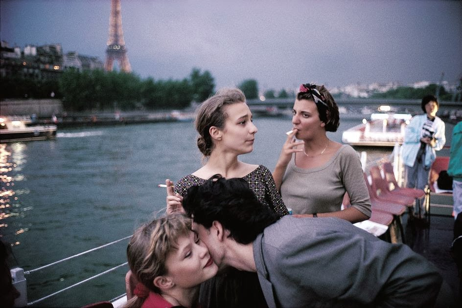 Paris. 1988. French Teenagers on a boat on the Seine river