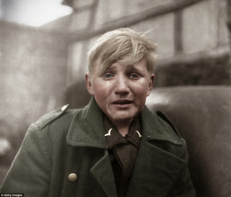 Hans-Georg Henke - 15 Year Old German Soldier colorized