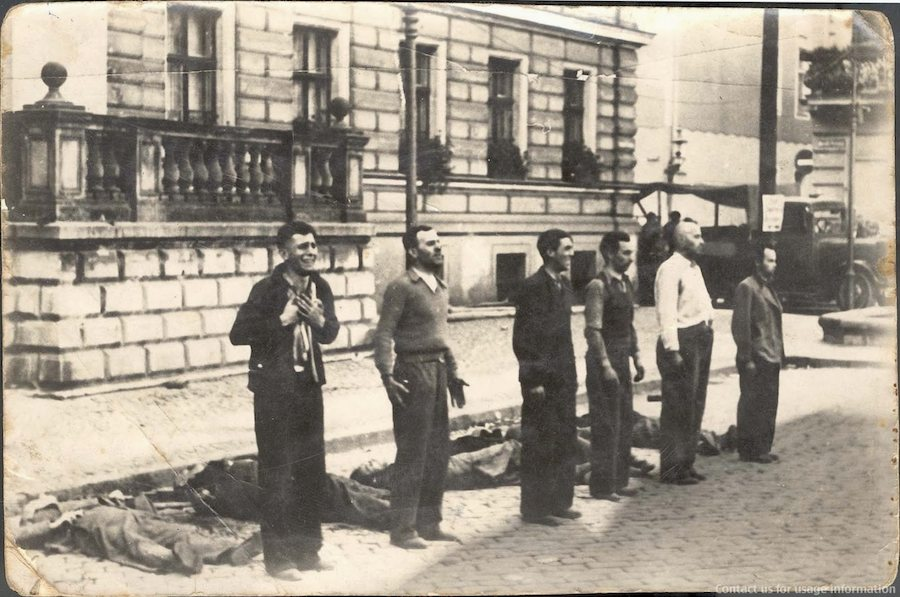 Facing the Death the different expressions of six Polish civilians moments before death by firing squad, 1939