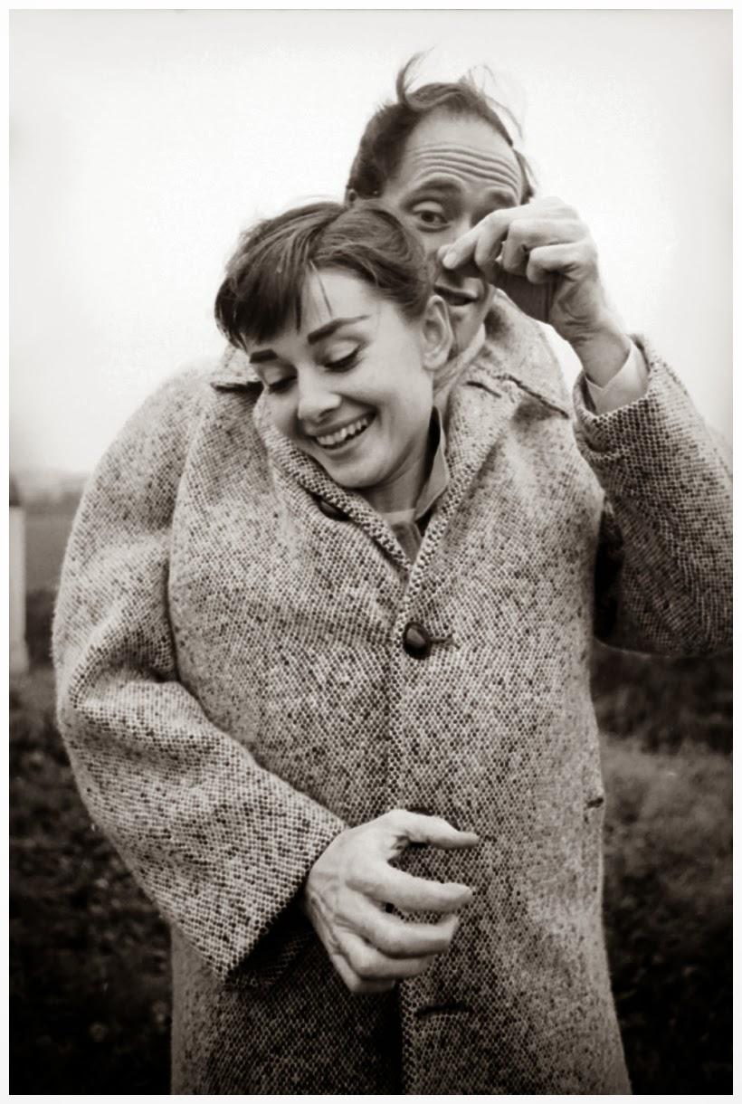 Audrey Hepburn and Mel Ferrer Sharing a Coat (1)