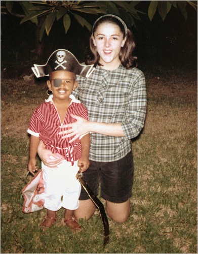 A young Barack Obama dressed up as a pirate with his late mother Ann Dunham