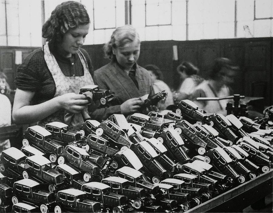 Women at work in a toy car factory in Walthamstow London, ca. 1930s