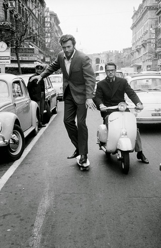 Clint Eastwood skating on the street of Rome, ca. 1960s