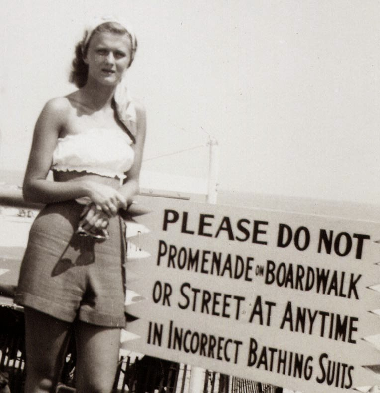 Do not promenade in incorrect bathing suit, ca. 1940