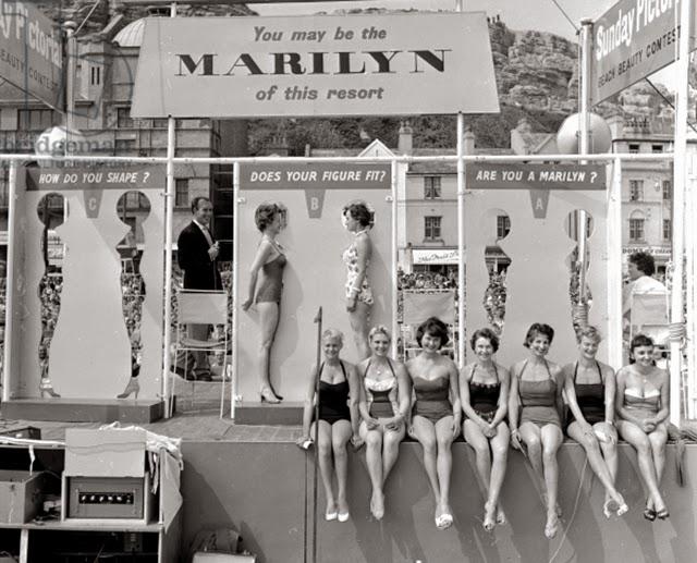 Marilyn Monroe look-a-like competition in Hastings, UK, ca. 1958