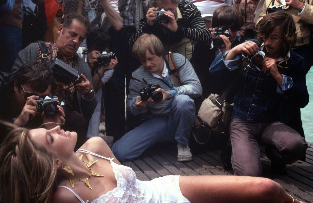 Starlet posing for photographers at the 1979 Cannes Film Festival