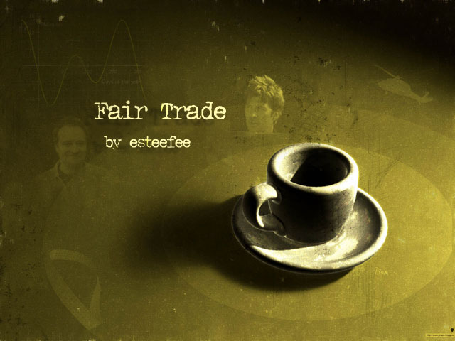 Fair Trade cover, featuring central image of old diner shop coffee cup in sepia tone with faded image of John and a Black Hawk helicopter in upper right, and Rodney and some equations in upper left, all within concentric circles.