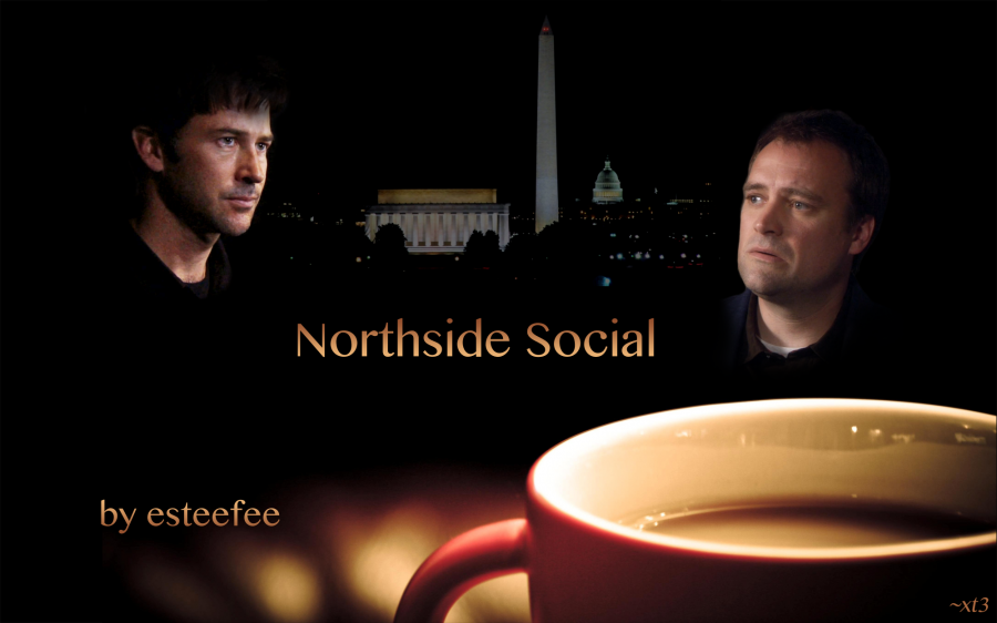 Northside Social - John and Rodney and Washington Monument with Coffee Cup