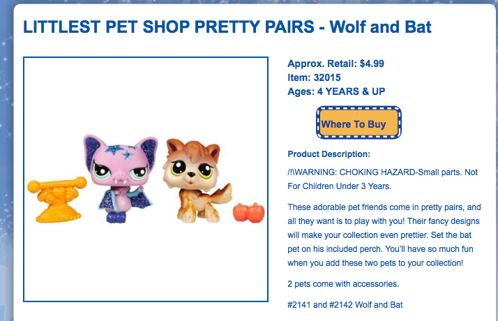A Littlest Pet Shop advertisement for a pair of small, cutesy  toy animals with very large eyes. One is a lavender bat with patches of glitter and the other is wolf. The displayed accessories include a perch for the bat and a pair of apples.