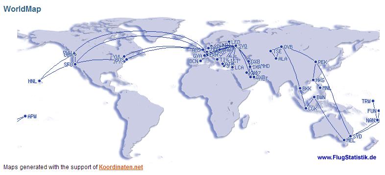 Моя карта полетов 2012 года