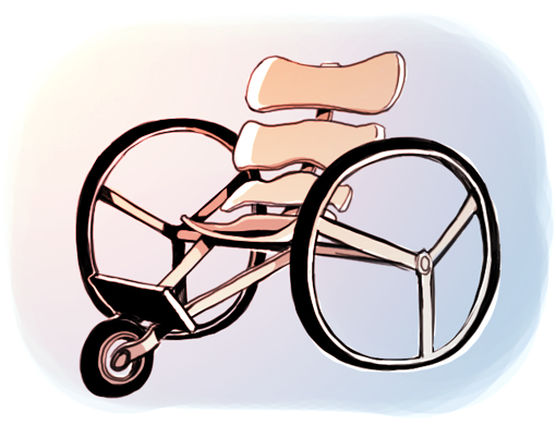 A drawing of Charles' wheelchair. The design is very sleek and minimal, with a backrest that looks like flattened ribs and large wheels.