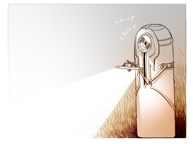 A drawing of a cylindrical medbot holding out a scanner-wand.