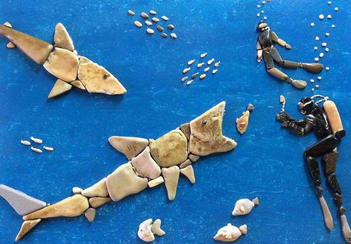 Мозаика из пляжных камушков