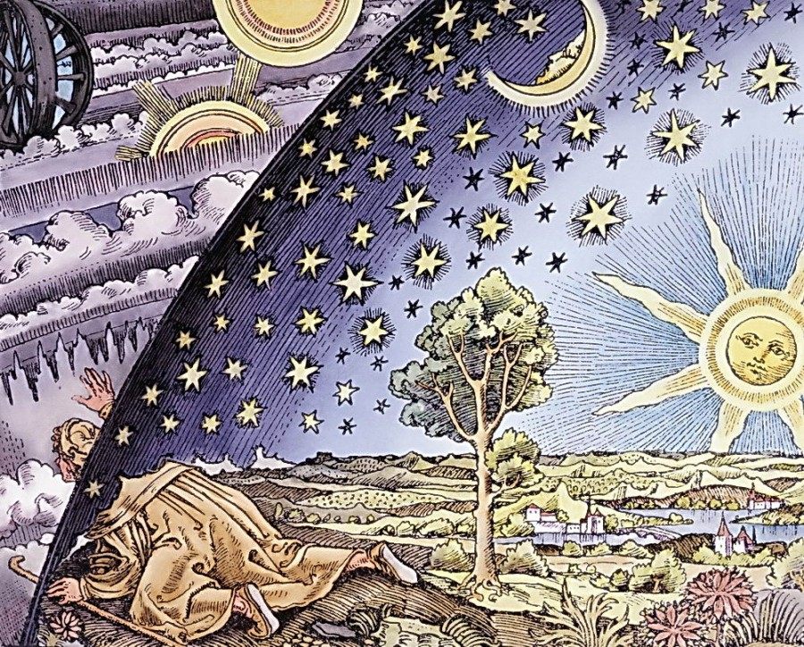 Woodcut_16th_Century_A_Man_Looking_into_Outer_Space_Astronomy_Crawling_Observing_Motions_looking_monitoring_viewing_b