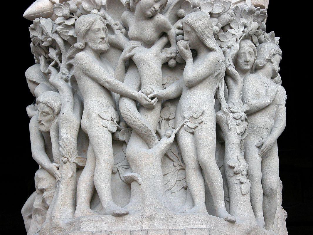 Paris 10 Notre Dame Left Portal Entrance Adam, Eve, and the Female Serpent
