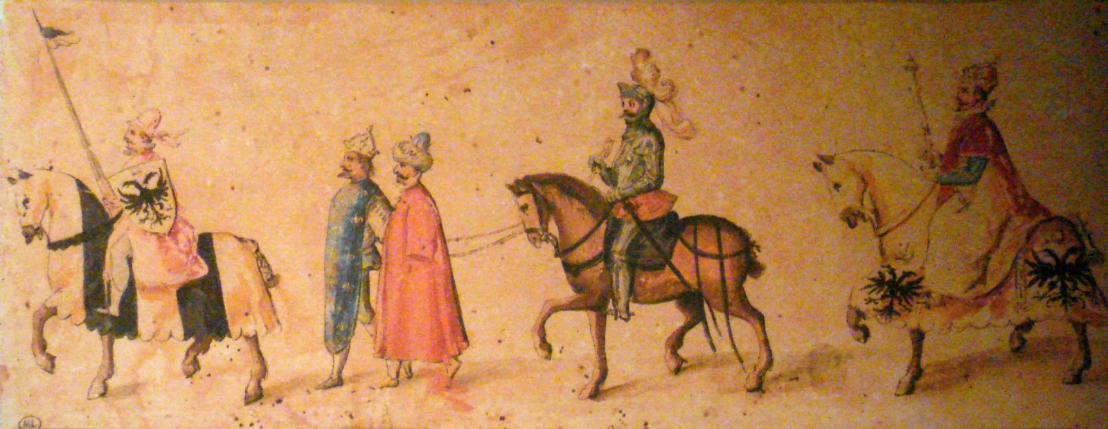 The_Emperor_conducting_the_king_of_France_and_the_Sultan_as_captives_bound_together_Early_17th_century_charicature
