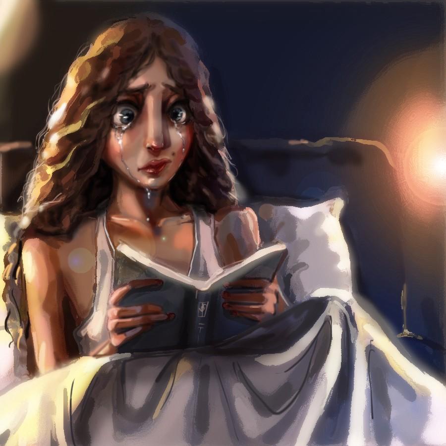 ева с книгой и слезами