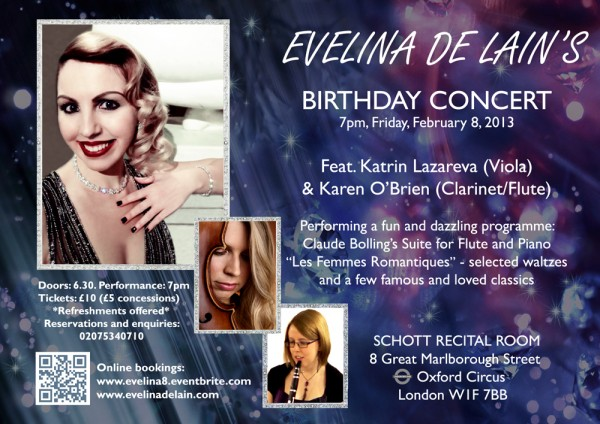 Evelina De Lain 8th of Feb - Birthday concert - eFlyer