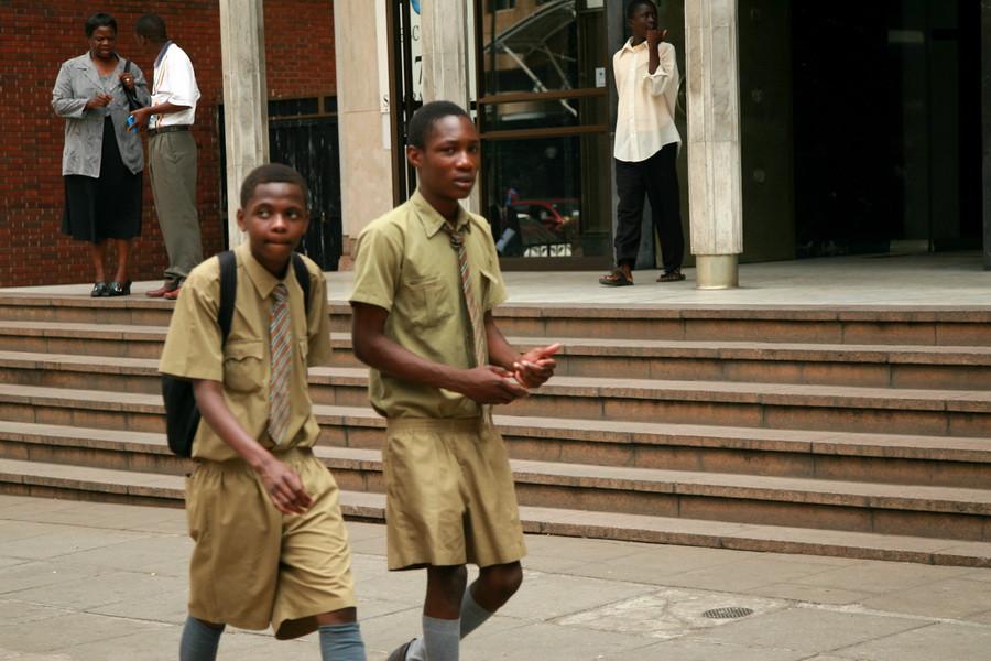 Школьники в цветах своей школы