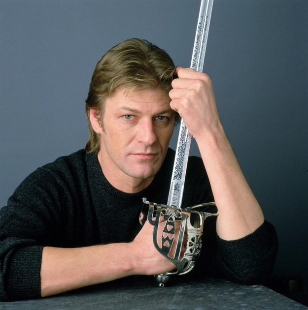 Sean Bean holding a British Pattern 1828 Highland Officer's Sword