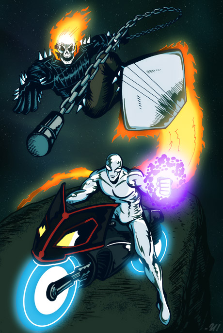 Silver Surfer & Ghost Rider