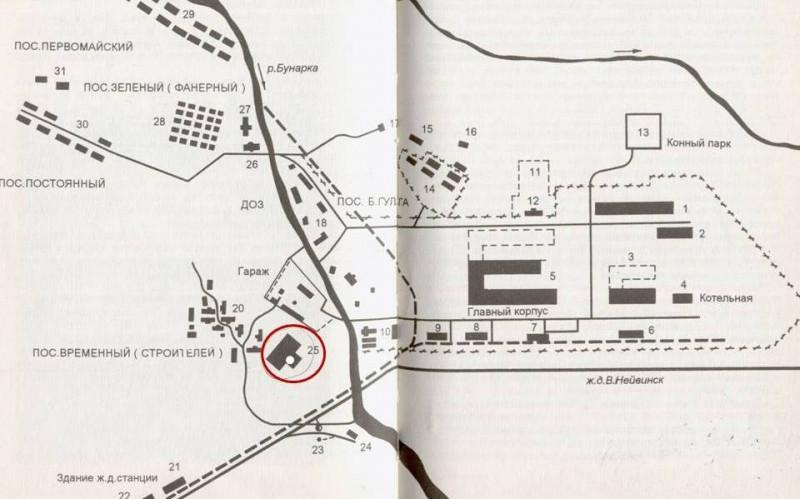 Известная карта-схема из книги Анурьева. Под номером 25 - тот самый резервуар. Он отмечен белым кружком (криво получилось, простите). Видимо, раньше вокруг резервуара была еще одна постройка.