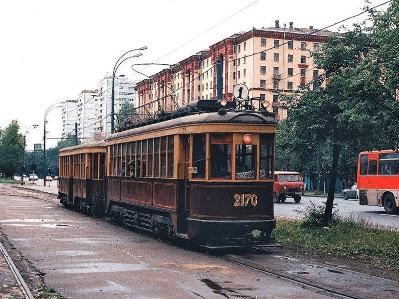 Старый трамвай на Шоссе Энтузиастов, 1988г.