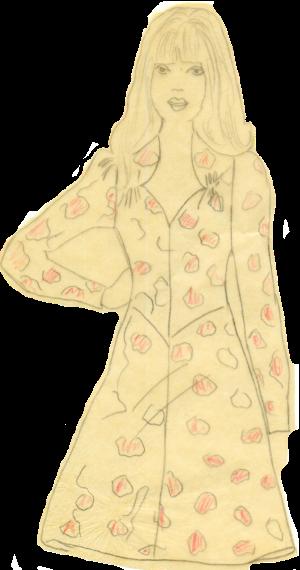 Первое самостоятельно сшитое мной платье, рисунок которого сохранился в старой книге по шитью. Я тогда много рисовала и срисовывала.