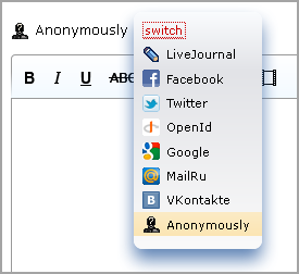 dropdown list of commenting options