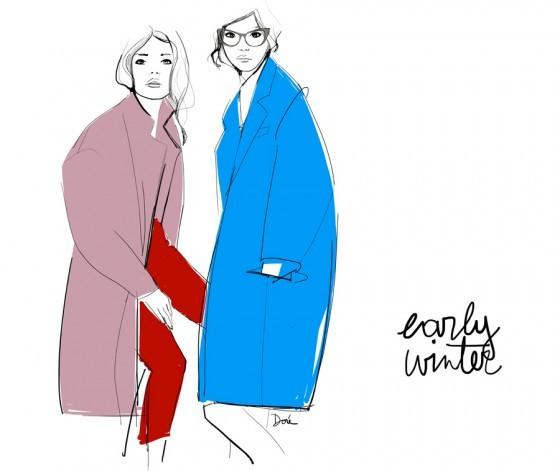 эскизы пальто: